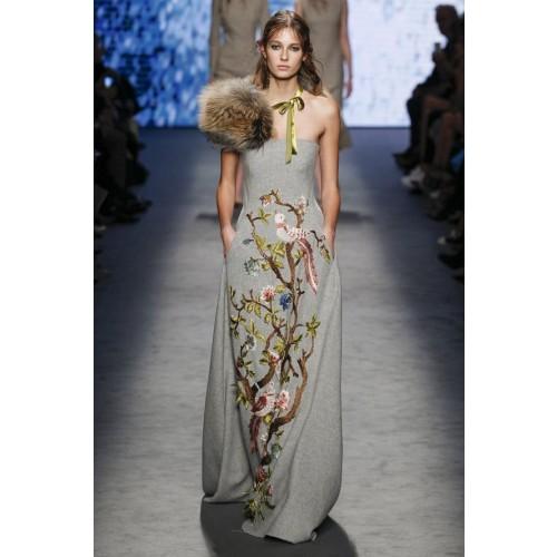Vendita Abbigliamento Usato FIrmato - Bustier grigio in lana con applique a tema floreale - Alberta Ferretti - Drexcode -1