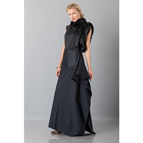 Vendita Abbigliamento Usato FIrmato - Gonna nera con drappeggio anteriore - Albino - Drexcode -3