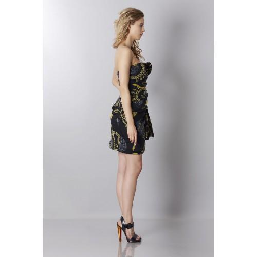 Vendita Abbigliamento Usato FIrmato - Abito bustier nero in seta con stampa - Moschino - Drexcode -1