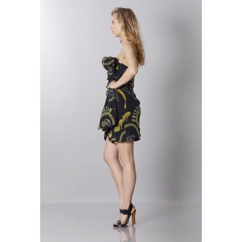 Vendita Abbigliamento Usato FIrmato - Abito bustier nero in seta con stampa - Moschino - Drexcode -5