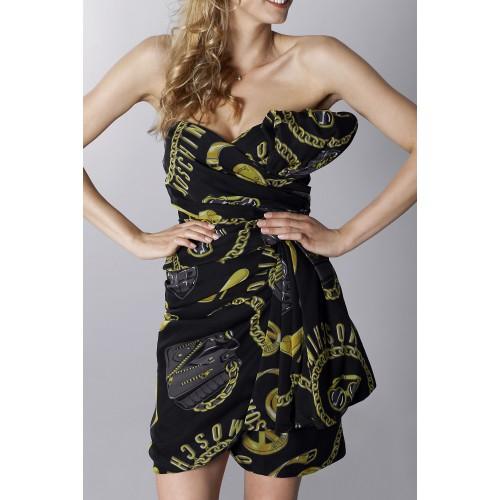 Vendita Abbigliamento Usato FIrmato - Abito bustier nero in seta con stampa - Moschino - Drexcode -4