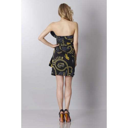 Vendita Abbigliamento Usato FIrmato - Abito bustier nero in seta con stampa - Moschino - Drexcode -6