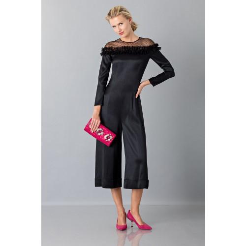 Vendita Abbigliamento Usato FIrmato - Jumpsuit nera longuette con pizzo off shoulder - Blumarine - Drexcode -7