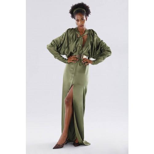 Vendita Abbigliamento Usato FIrmato - Abito oliva con maniche a pipistrello - Rhea Costa - Drexcode -1