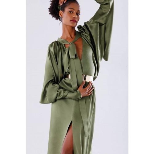 Vendita Abbigliamento Usato FIrmato - Abito oliva con maniche a pipistrello - Rhea Costa - Drexcode -2
