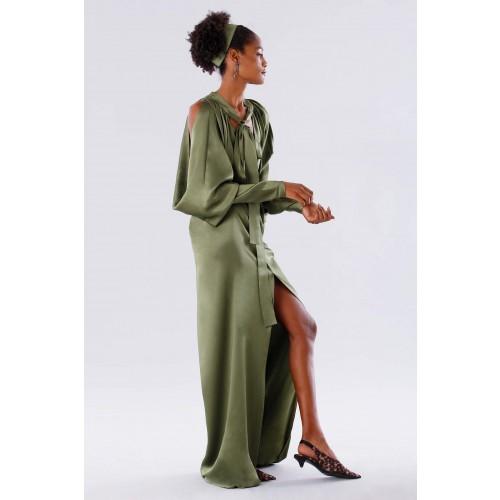 Vendita Abbigliamento Usato FIrmato - Abito oliva con maniche a pipistrello - Rhea Costa - Drexcode -4