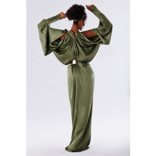 Vendita Abbigliamento Usato FIrmato - Abito oliva con maniche a pipistrello - Rhea Costa - Drexcode -3