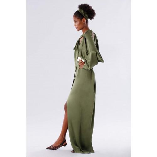 Vendita Abbigliamento Usato FIrmato - Abito oliva con maniche a pipistrello - Rhea Costa - Drexcode -5
