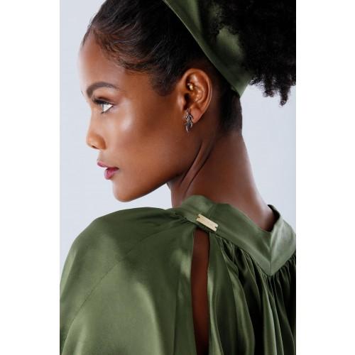 Vendita Abbigliamento Usato FIrmato - Abito oliva con maniche a pipistrello - Rhea Costa - Drexcode -8