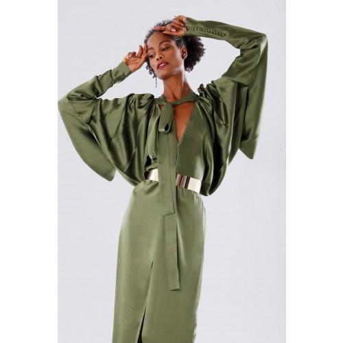 Vendita Abbigliamento Usato FIrmato - Abito oliva con maniche a pipistrello - Rhea Costa - Drexcode -6