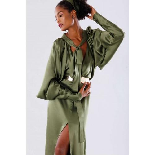 Vendita Abbigliamento Usato FIrmato - Abito oliva con maniche a pipistrello - Rhea Costa - Drexcode -7