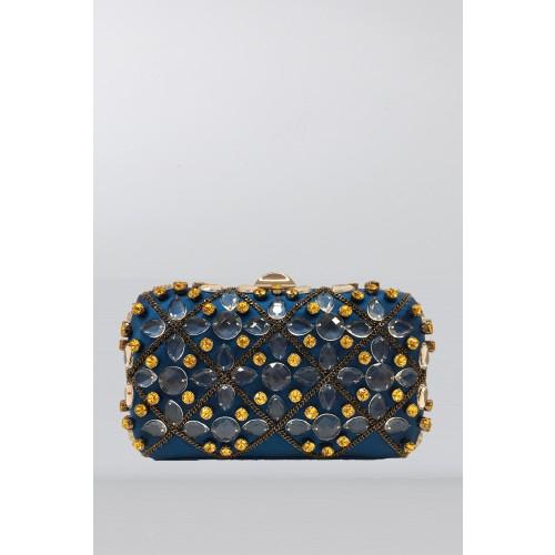 Vendita Abbigliamento Usato FIrmato - Clutch azzurra in seta con cristalli e catene - Rodo - Drexcode -1