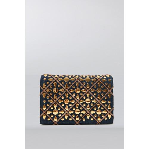 Vendita Abbigliamento Usato FIrmato - Pochette in tessuto jeans con decori dorati - Rodo - Drexcode -1