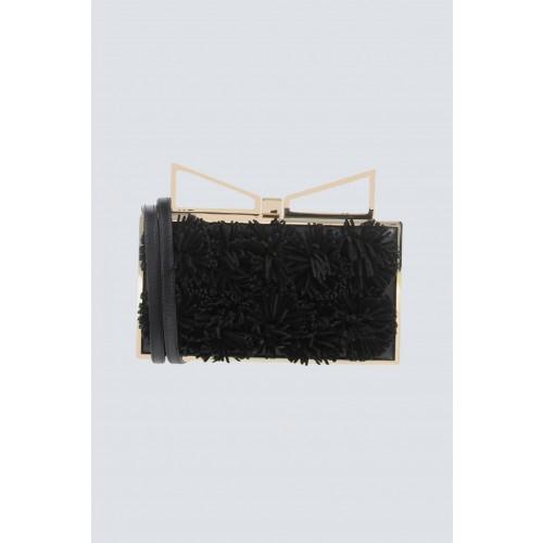 Vendita Abbigliamento Usato FIrmato - Clutch nera con pompon in stoffa - Sara Battaglia - Drexcode -1
