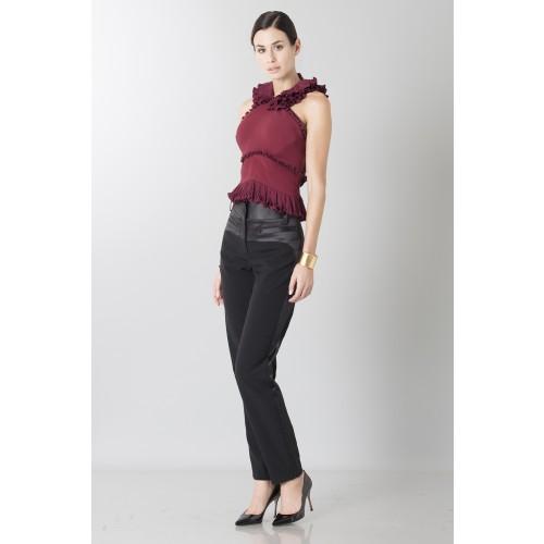 Vendita Abbigliamento Usato FIrmato - Top bordeaux con rouches - Antonio Berardi - Drexcode -4