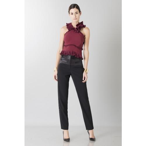 Vendita Abbigliamento Usato FIrmato - Top bordeaux con rouches - Antonio Berardi - Drexcode -5