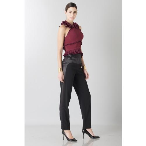 Vendita Abbigliamento Usato FIrmato - Top bordeaux con rouches - Antonio Berardi - Drexcode -3