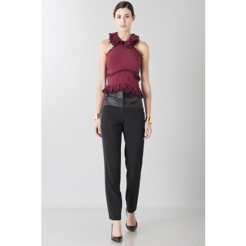 Vendita Abbigliamento Usato FIrmato - Top bordeaux con rouches - Antonio Berardi - Drexcode -2