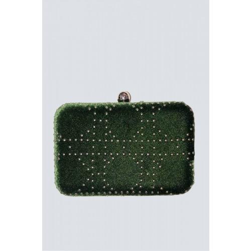 Vendita Abbigliamento Usato FIrmato - Clutch verde con borchie - Anna Cecere - Drexcode -1