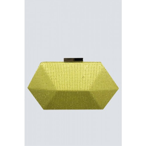Vendita Abbigliamento Usato FIrmato - Clutch geometrica limone con strass - Anna Cecere - Drexcode -1