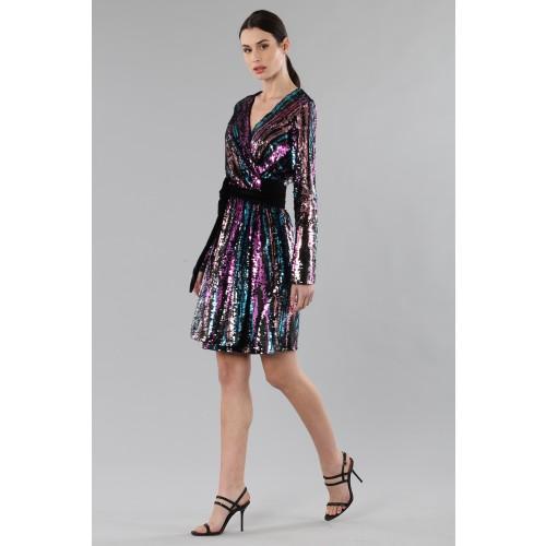 Vendita Abbigliamento Usato FIrmato - Wrap dress con paillettes mullticolori - Drexcode - Drexcode -3