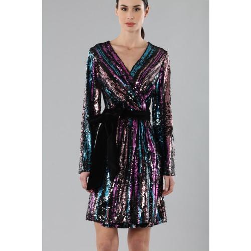 Vendita Abbigliamento Usato FIrmato - Wrap dress con paillettes mullticolori - Drexcode - Drexcode -7