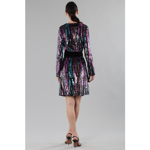Vendita Abbigliamento Usato FIrmato - Wrap dress con paillettes mullticolori - Drexcode - Drexcode -4