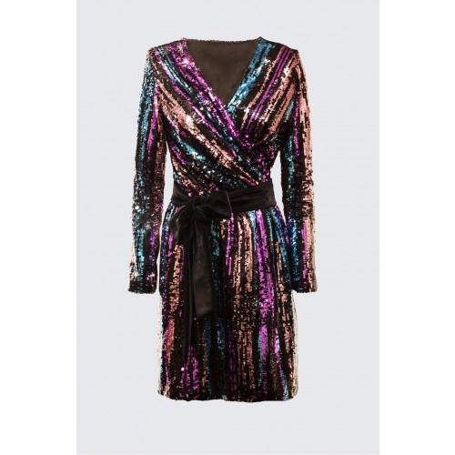 Vendita Abbigliamento Usato FIrmato - Wrap dress con paillettes mullticolori - Drexcode - Drexcode -1