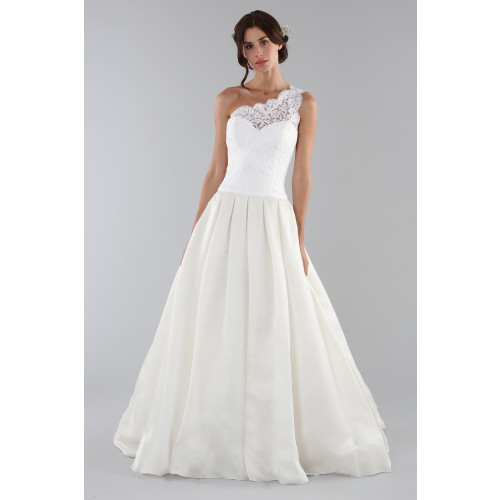 differently e8a42 62e3d Abito da sposa con corpetto in pizzo monospalla