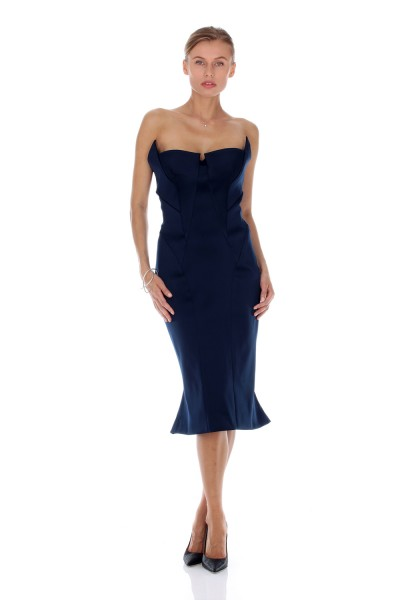 Tubino in stretch satin blu notte