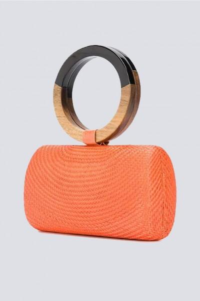 Clutch arancione con manico bicromatico