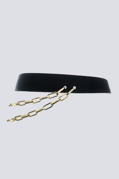 Cintura doppia catena in pelle