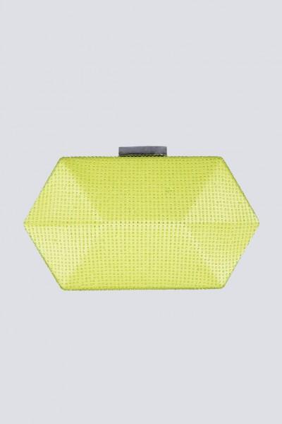 Clutch geometrica limone con strass