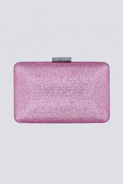 Clutch piatta rosa con strass