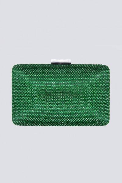 Clutch piatta verde con strass