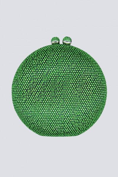Clutch tonda verde con pietre