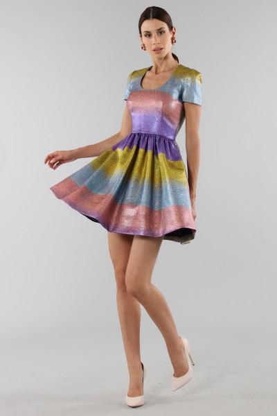 Abito glitterato multicolore