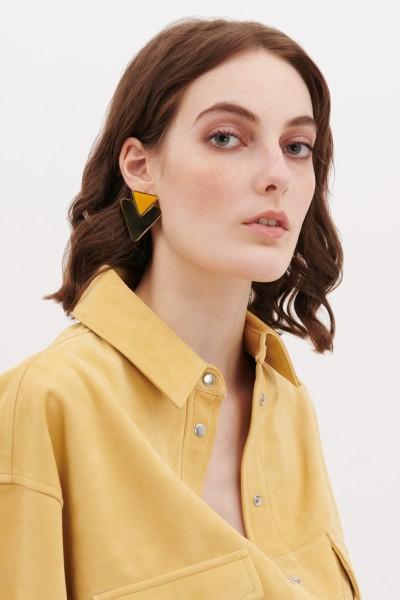 Orecchini in metallo e resina gialli