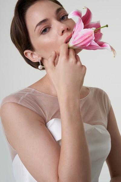 Abito da sposa in magnolia e organza di seta