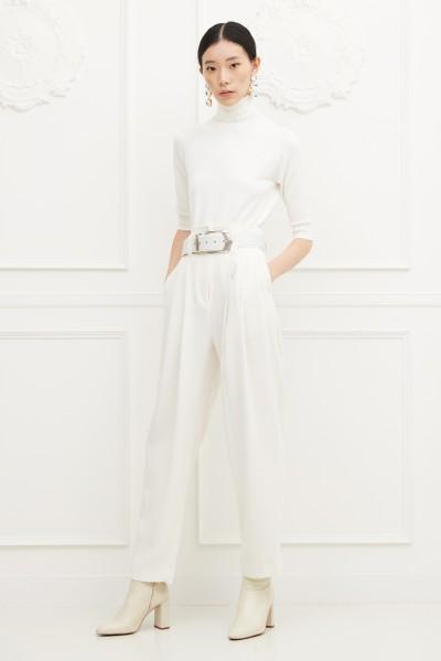 Pantalone bianco a vita alta