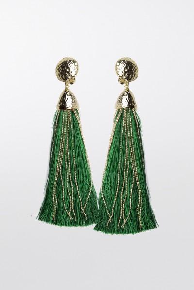 Orecchini in corda oro e verde