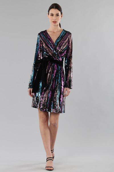 Wrap dress con paillettes mullticolori