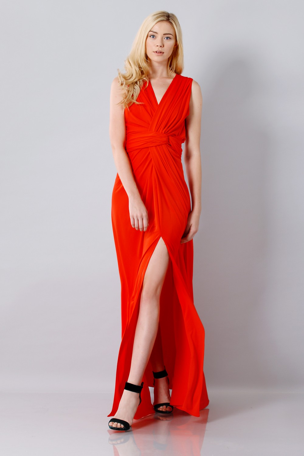 Silk red dress with slit