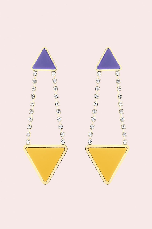 Orecchini triangolo in strass e resina
