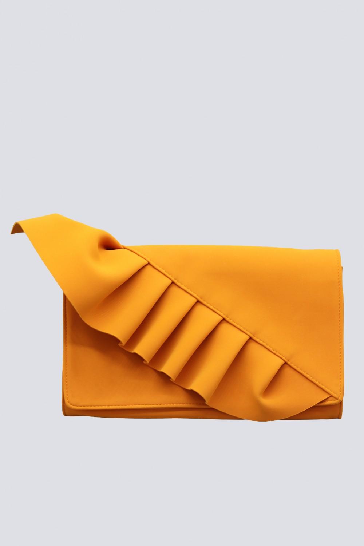 Clutch arancione con volant