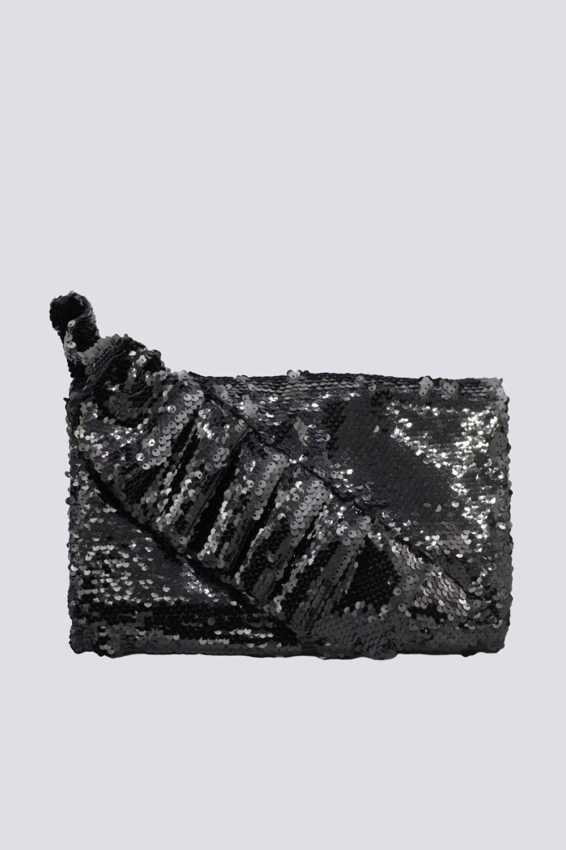Clutch nera con volant