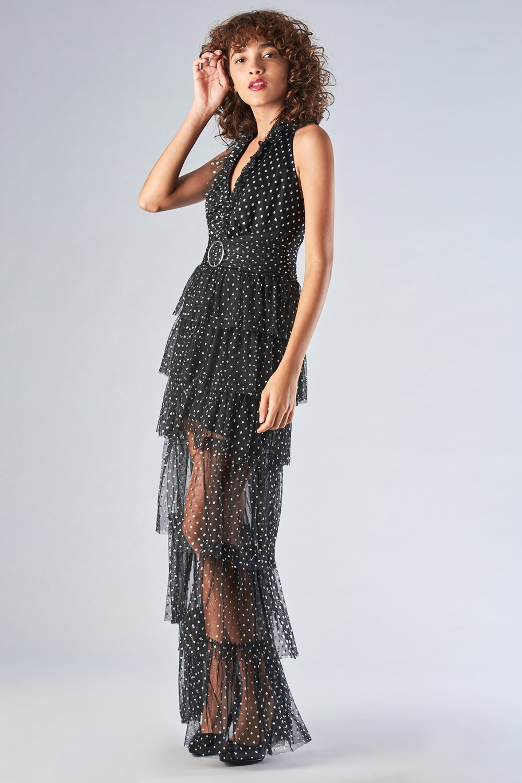 Asymmetric polka dot dress with ruffles
