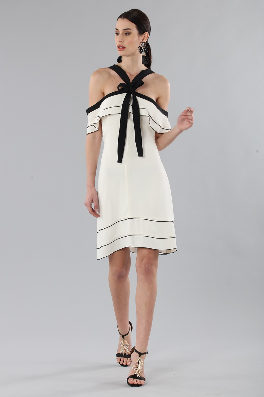 White and black off-shoulder flared dress