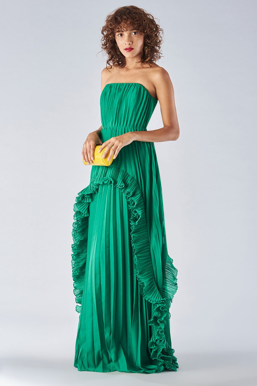 Bustier dress with front ruffles