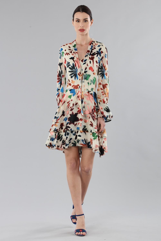 Short dress with colourful velvet inserts